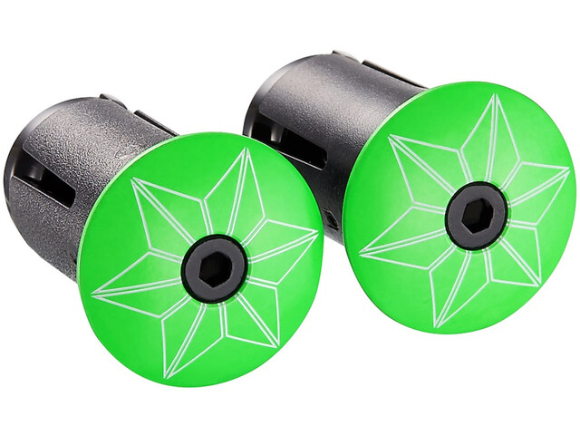 Supacaz Star Plugz Handlebar End Caps neon green powder-coated